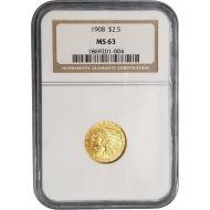 1908 $2 1/2 Indian Gold Quarter Eagle - NGC MS 63