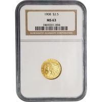 1908 $2 1/2 Indian Gold Quarter Eagle - NGC MS 63