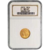 1913 $2 1/2 Indian Gold Quarter Eagle - NGC MS 63