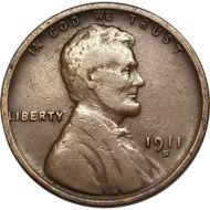 1911 S Lincoln Wheat Penny - F (Fine)