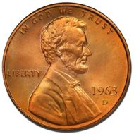 1963 D Lincoln Memorial Penny - Brilliant Uncirculated
