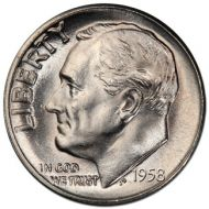 1958 D Roosevelt Dime - Brilliant Uncirculated