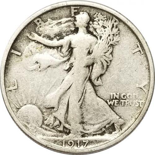 ** 1917-S REVERSE Walking Liberty Silver Half Dollar FREE SHIPPING!