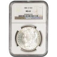 1881 O Morgan Dollar -NGC MS 63