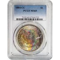 1884 CC Morgan Dollar - PCGS MS 65 - Rainbow Toning