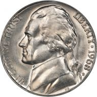 1968 D Jefferson Nickel - Brilliant Uncirculated