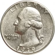 1939 Washington Quarter - Almost Uncirculated