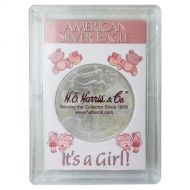 H.E. Harris 2x3 Silver Eagle Frosted Case Holder - It's A Girl