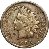1908 S Indian Head Penny - F (Fine)  #1