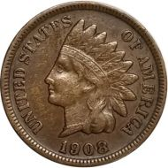 1908 S Indian Head Penny - VF (Very Fine)
