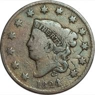 1824/2 Large Cent - VG Detail (Very Good) - Altered Surface