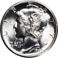 1940 S Mercury Dime - BU (Brilliant Uncirculated)