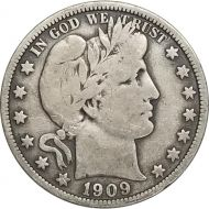 1909 Barber Half Dollar - F (Fine)