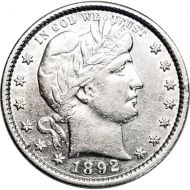 1892 Barber Quarter - AU (Almost Uncirculated)